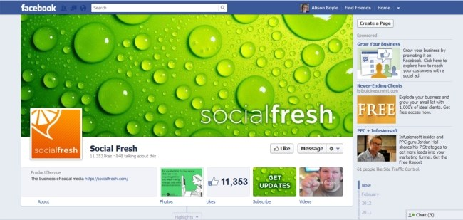 Example of Social Fresh Facebook Page