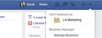Facebook page and profile toggle